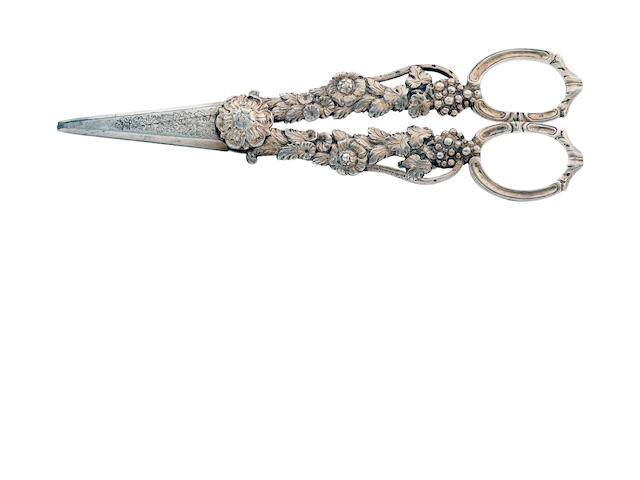 A pair of George IV silver grape scissors by Thomas Richards, London 1824