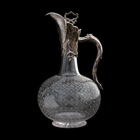A Victorian silver mounted glass claret jug by George Fox, London 1863