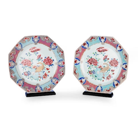 A pair of famille rose octagonal dishes Qianlong