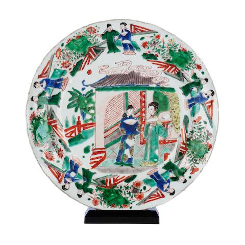A famille verte circular dish Bearing Kangxi lozenge mark