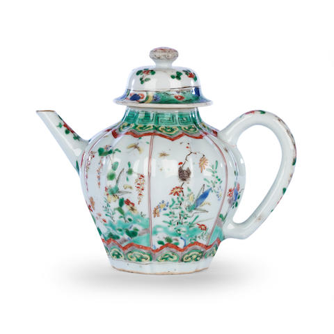 A famille verte fluted baluster teapot and cover Kangxi