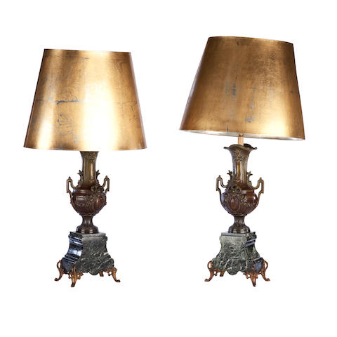 A pair of French late 19th century gilt-spelter and verde-antico marble lamps