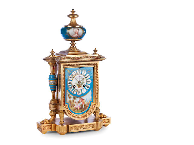 A mid 19th century gilt-spelter and Sevres pattern porcelain mantel clock