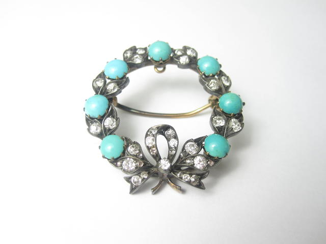 A late Victorian turquoise and diamond wreath brooch