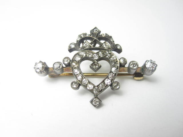 A Victorian diamond heart and coronet brooch