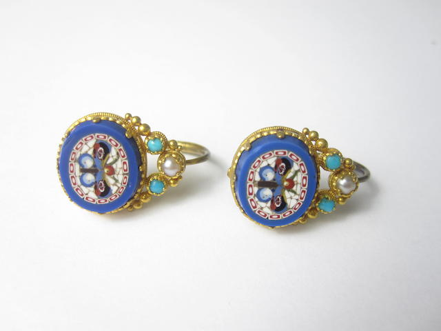 A pair of 19th century micromosaic, turquoise and seed pearl earrings