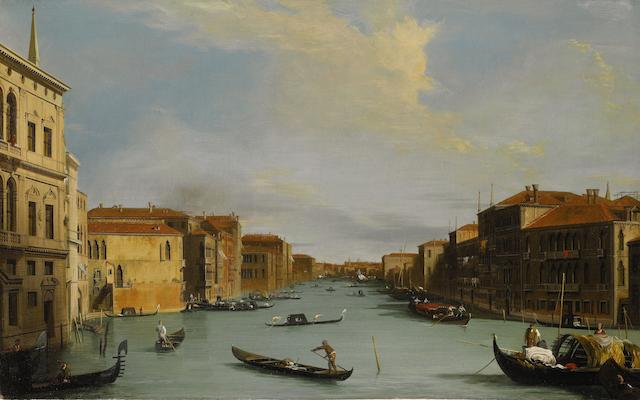 Manner of Antonio Canaletto A view of the Grand Canal looking North-East from the Palazzo Balbi to the Rialto Bridge