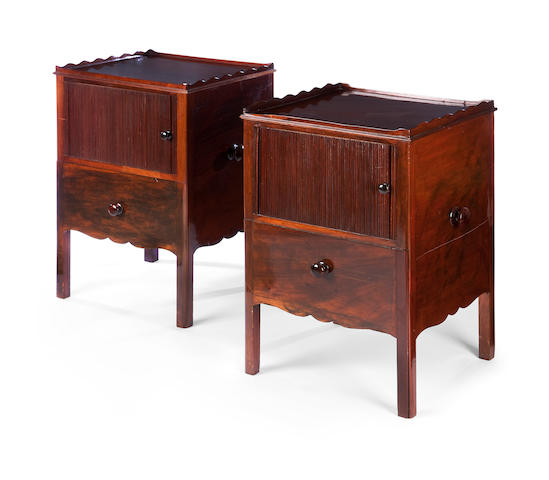 A near pair of 19th century mahogany night tables
