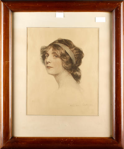 Pair of framed prints after Behmen of young women heads, contained in polished mahogany frames the mounts with blind stamps for Franz Hanfstaengi Munchen, 44 x 36cm