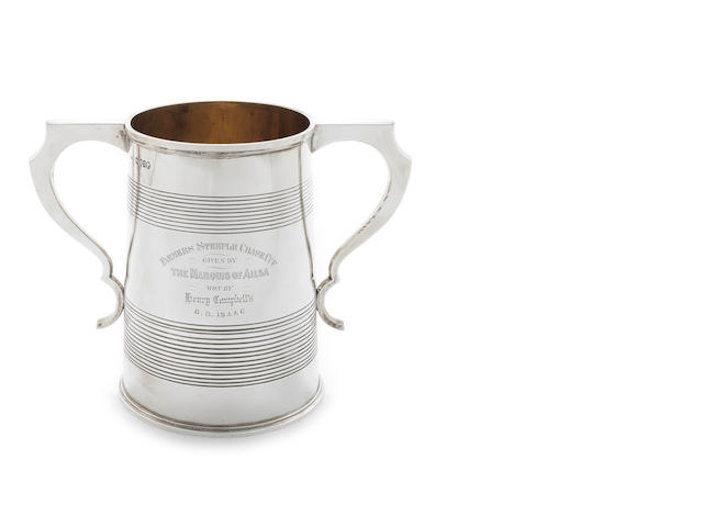 A Victorian silver two-handled glass-bottomed  presentation cup by W.W. Williams, London 1867