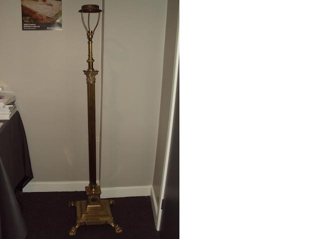 A brass standard lamp in the form of Corinthian column