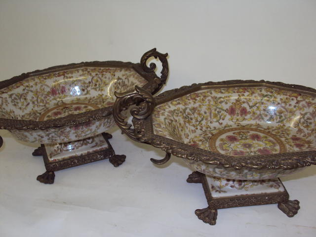 A pair of Chinese porcelain and gilt metal octagonal bowls