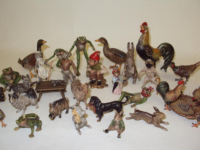 A collection of miniature bronze Vienna animals