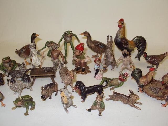 A collection of miniature bronze Vienna animals