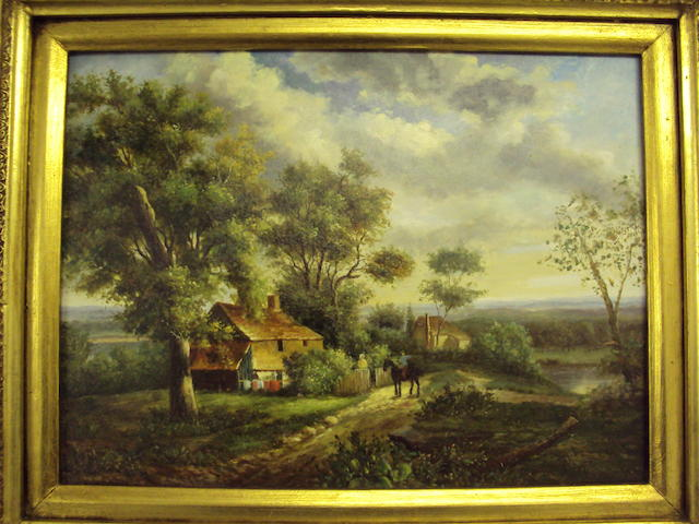 British School, (20th century) Rural landscape with figure on horseback before a cottage