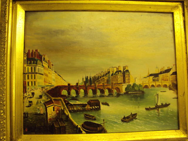 Continental School, (20th century) A Continental river town, with boats and figures