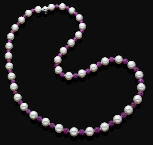 A cultured pearl and ruby necklace