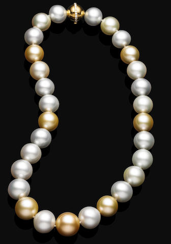 A multi-coloured cultured pearl necklace