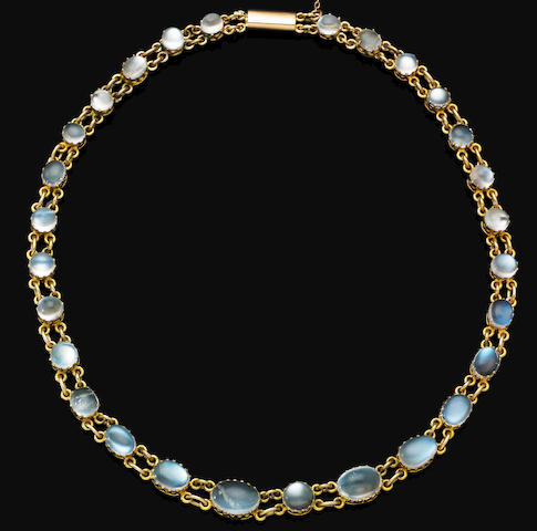 An early 20th century moonstone necklace,