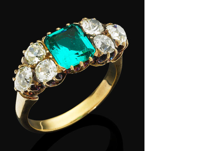 A Victorian emerald and diamond dress ring, circa 1890