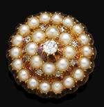 A group of Victorian pearl and diamond jewellery, (2)