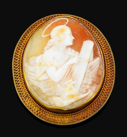 A Victorian helmet shell cameo brooch, circa 1880 mounted in yellow gold, pearls untested