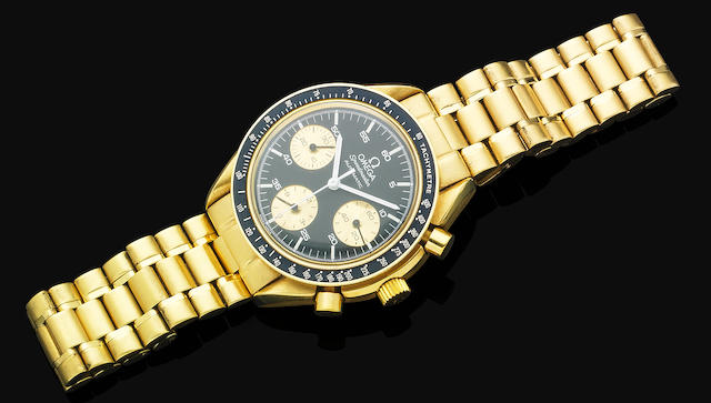 A gentleman's gold Omega bracelet watch