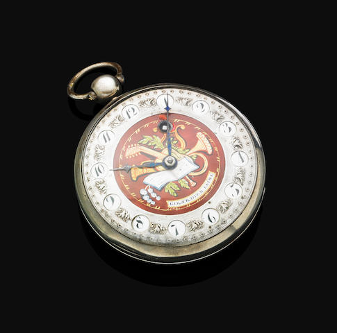 An antique Continental silver open face pocket watch, Girardier Laine
