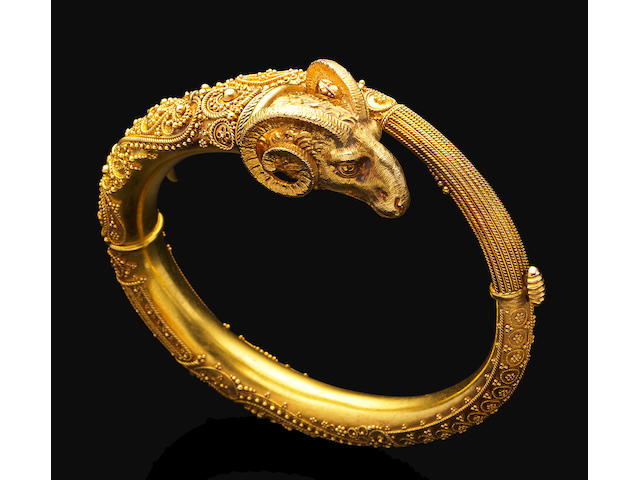 An antique Byzantine revival gold bangle,