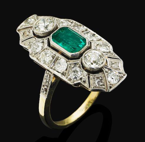 An Art Deco emerald and diamond ring,