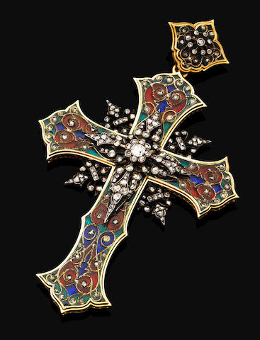An antique gold, enamel and diamond cross,
