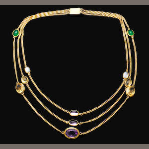 A mid-20th century multi-gem necklace