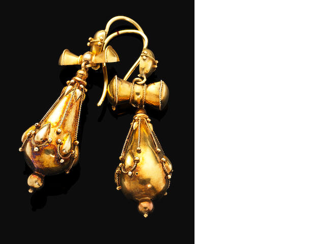 A pair of antique Etruscan revival gold pendent earrings,