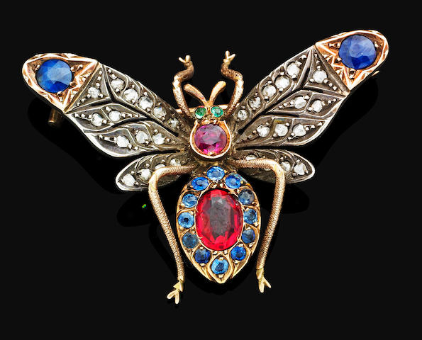 An antique gem-set butterfly brooch