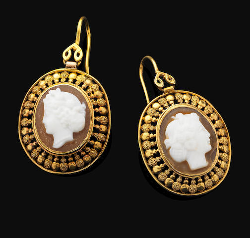 A pair of antique cameo pendent earrings,