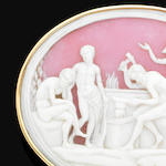 An antique shell cameo brooch,