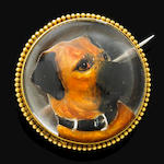 A Victorian Essex crystal dog brooch,