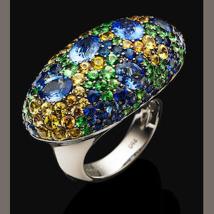 A multi-gem cocktail ring