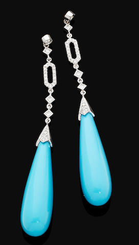 A pair of turquoise and diamond pendent earrings