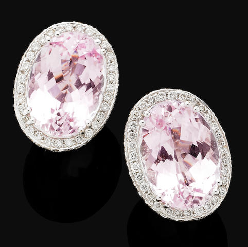 A pair of kunzite and diamond earrings