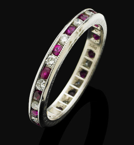 A ruby and diamond eternity ring