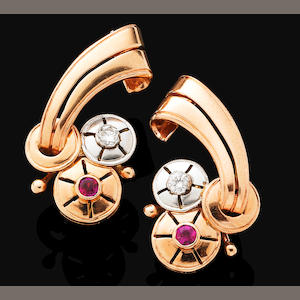 A pair of retro ruby and diamond earrings
