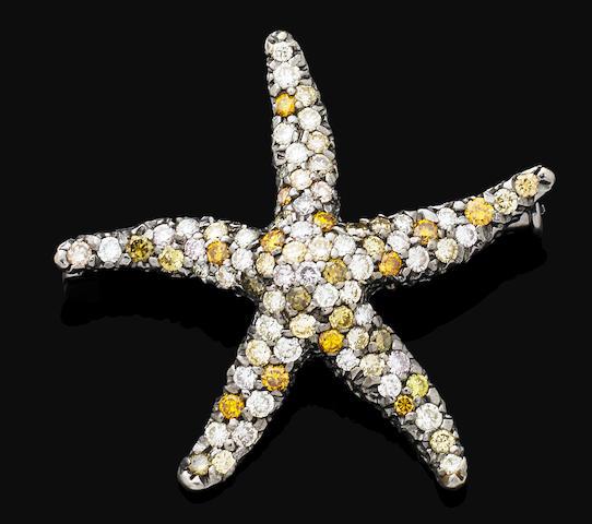 A multi-coloured diamond brooch