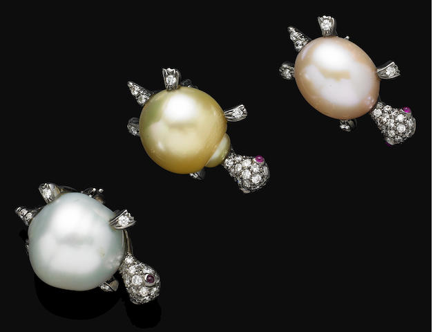 A set of cultured pearl and diamond brooches