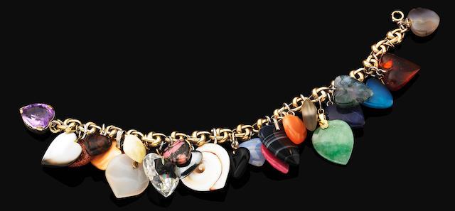 A multi-gem charm bracelet