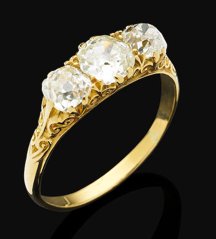 A Victorian diamond three-stone ring, circa 1890