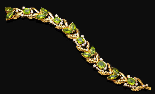 A peridot and diamond bracelet, by Van Cleef & Arpels,