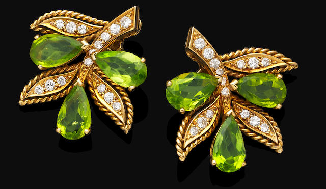 A pair of peridot and diamond earrings, by Van Cleef & Arpels,