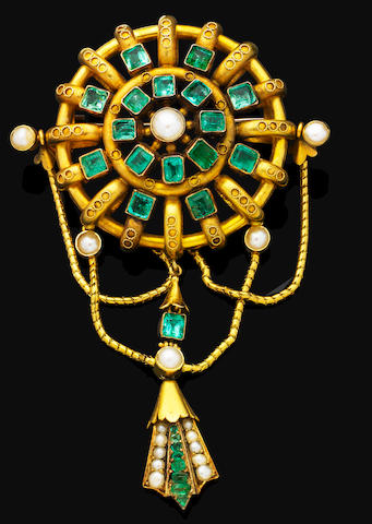 An early 19th century gold and gem-set brooch,