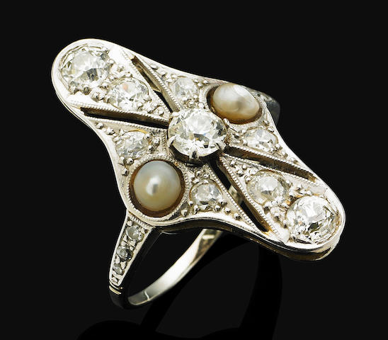 An early 20th century pearl and diamond ring